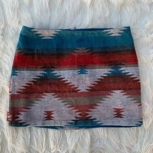 American Eagle Southwestern Aztec Wool Blend Skirt